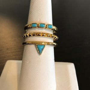 Adjustable gold and turquoise ring